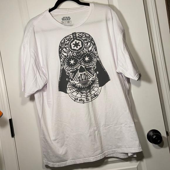 Star Wars Darth Vader t-shirt short sleeve crew 2X up soy tu padre white w/black